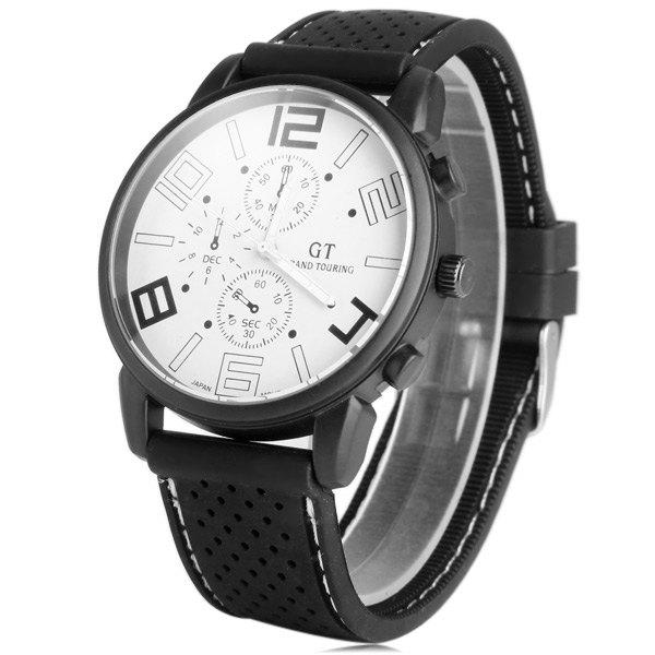 GT Sports Watch Men Quartz Military Wristwatch Japan Movt Round Dial Silicone Band - BLACK