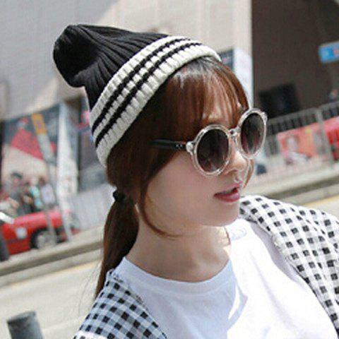 Chic Stripe Pattern Color Block Knitted Hat For Women - BLACK