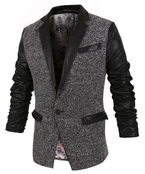 Stylish Lapel Slimming Color Block PU Leather Splicing Long Sleeve Polyester Blazer For Men - XL COLORMIX