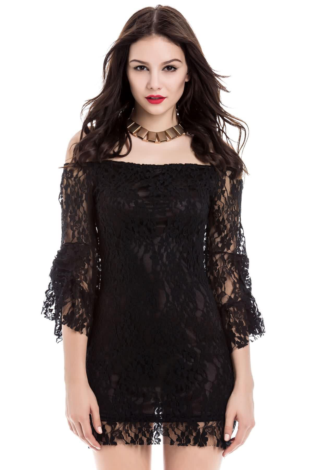 Sexy Flared Sleeve Boat Neck Lace Dress For Women - BLACK ONE SIZE