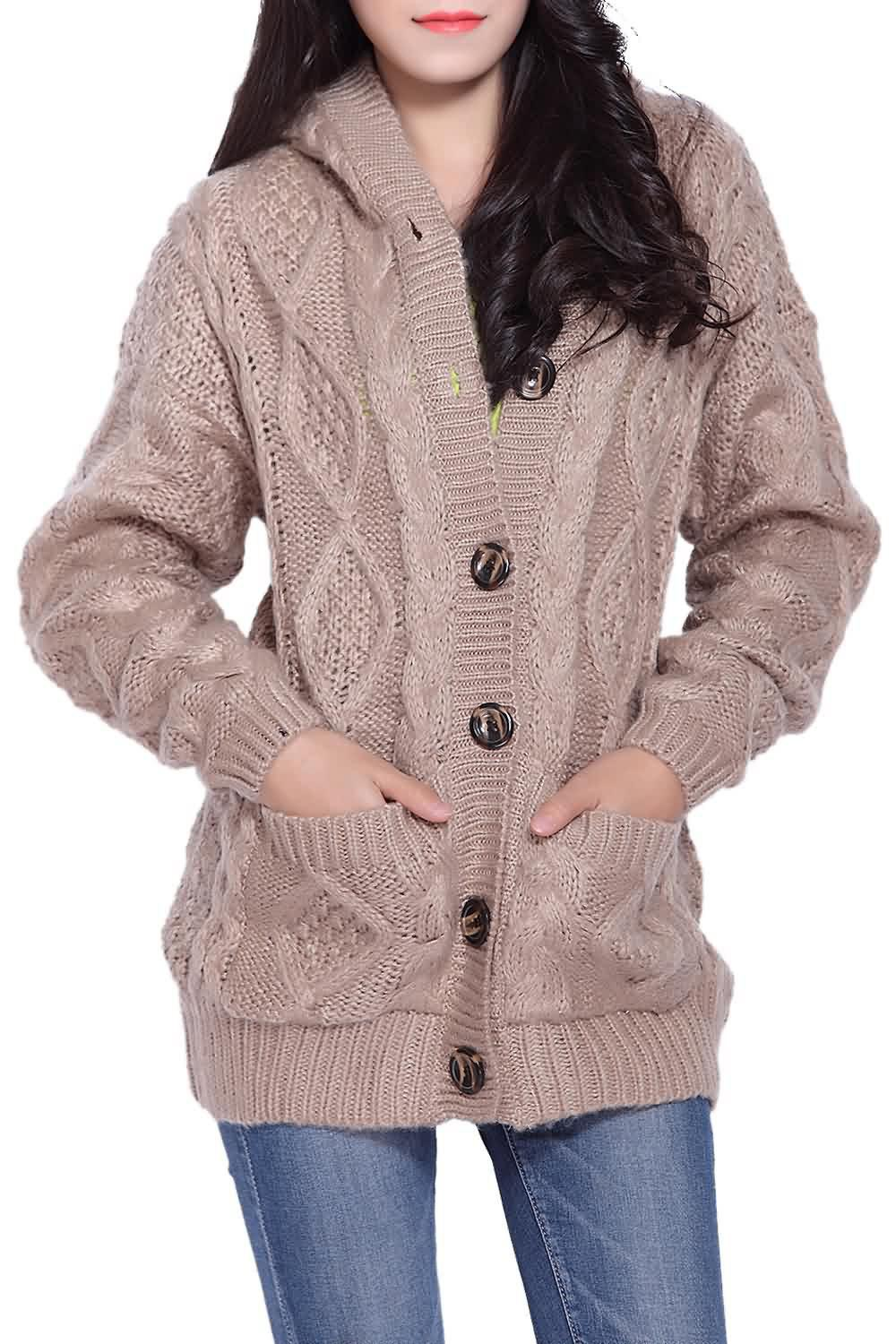 2018 Hooded Cable Knit Button Up Cardigan KHAKI ONE SIZE In ...