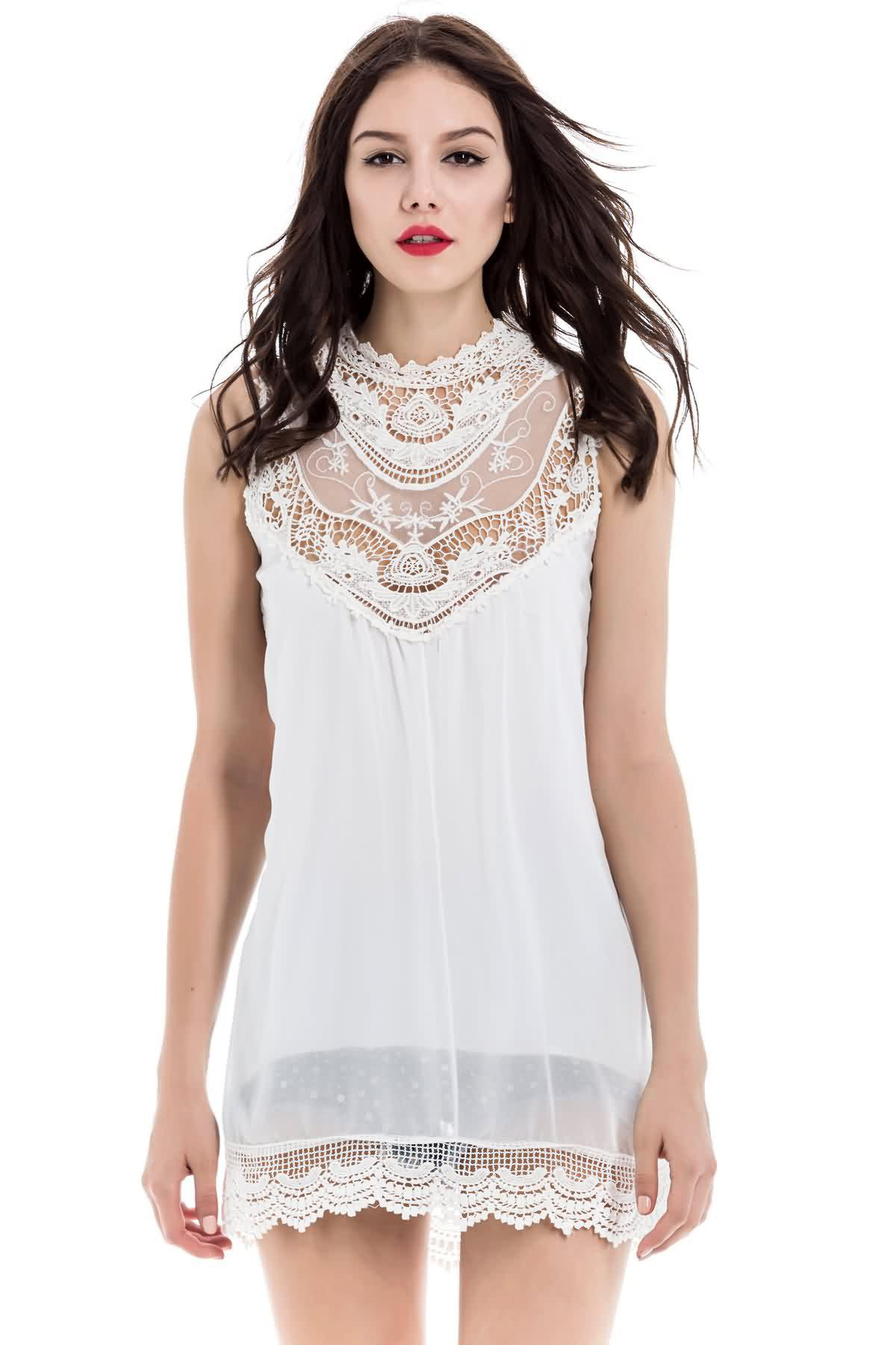 White Color Lace Splicing Hollow Out Design Sleeveless Stand-Up Collar Packet Buttock Dress - WHITE M