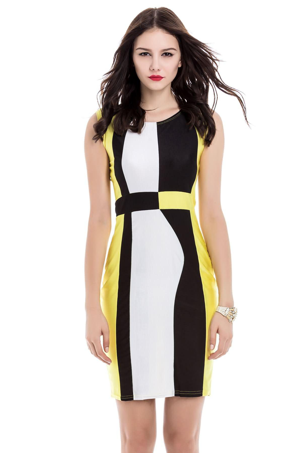 Simple Style Scoop Neck Sleeveless Color Block Packet Buttock Dress - YELLOW L