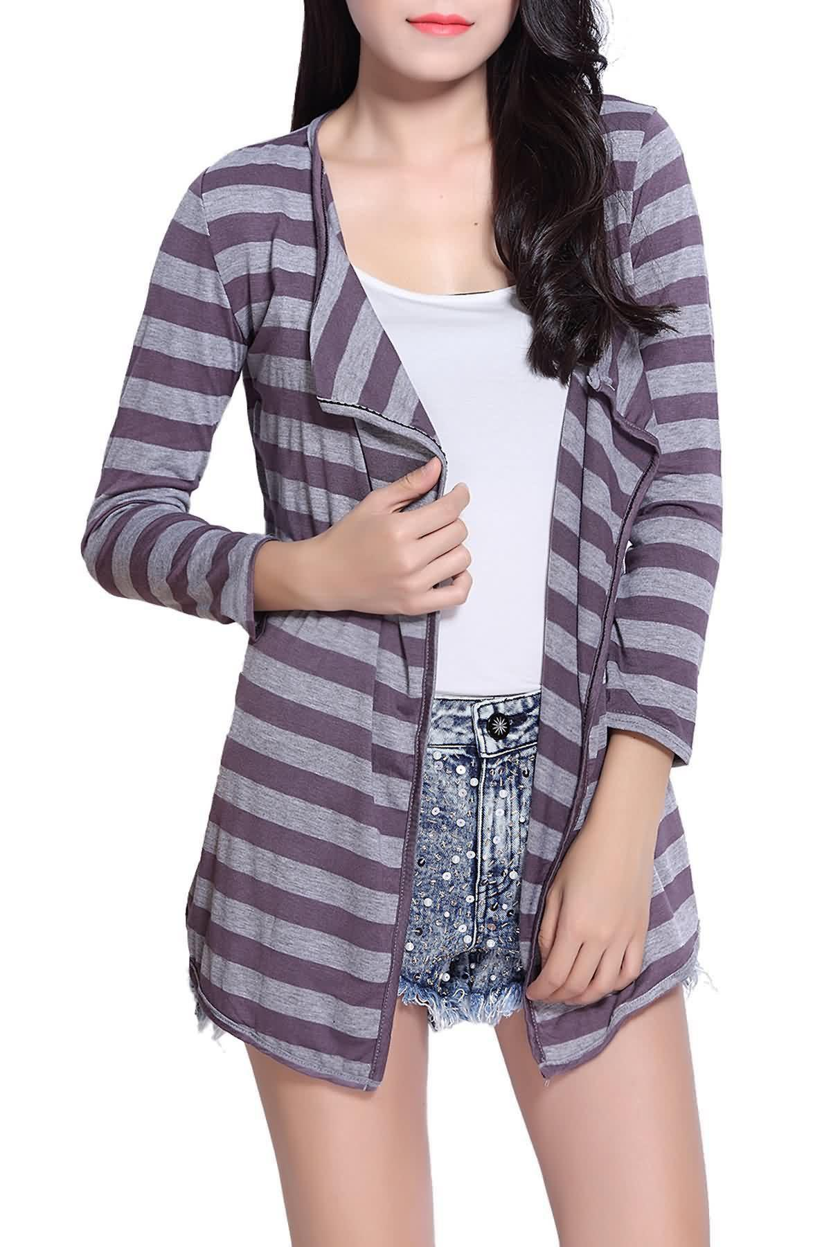 Fashionable Stripe Color Block Long Sleeve Coat For Women - GREY/GRAY