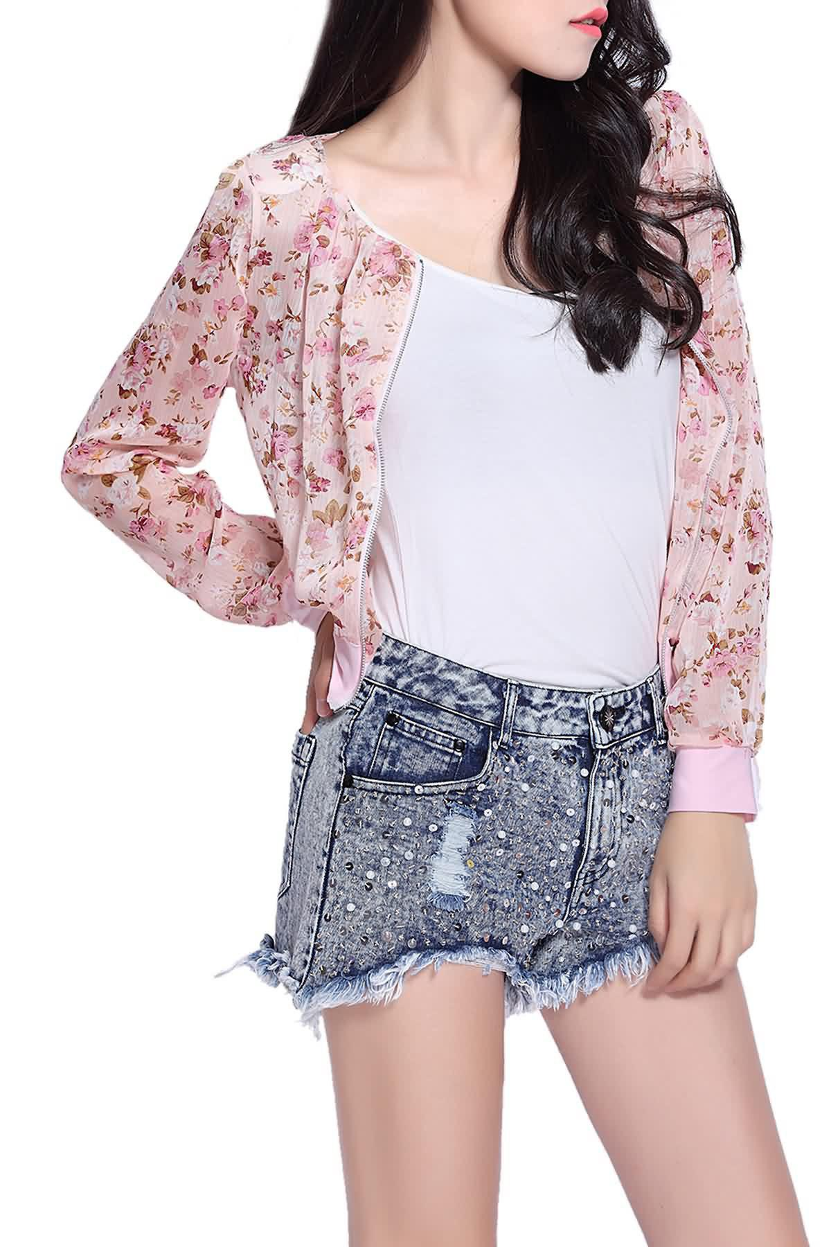 Stunning Scoop Neck Long Sleeves Floral Print Shrug Style Chiffon Women's Jacket - PINK ONE SIZE