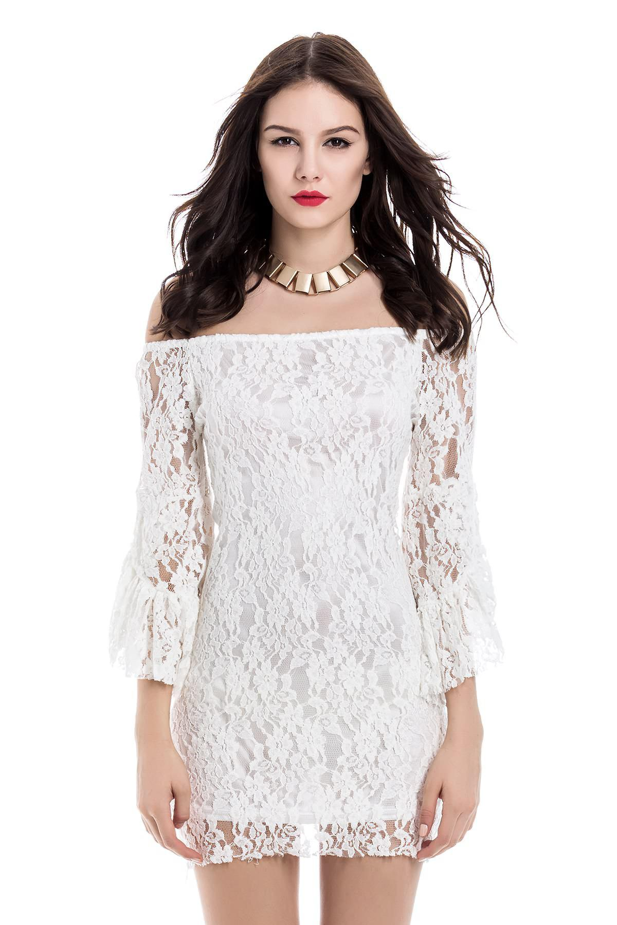 Off-The-Shoulder Sexy Boat Neck Solid Color Trumpet Sleeve Women's Lace Dress - WHITE M