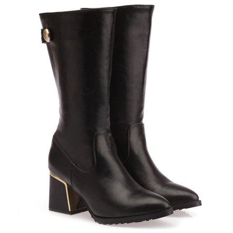 Trendy Pointed Toe and Metallic Design Women's Chunky Heel Mid-calf Boots - 38 BLACK