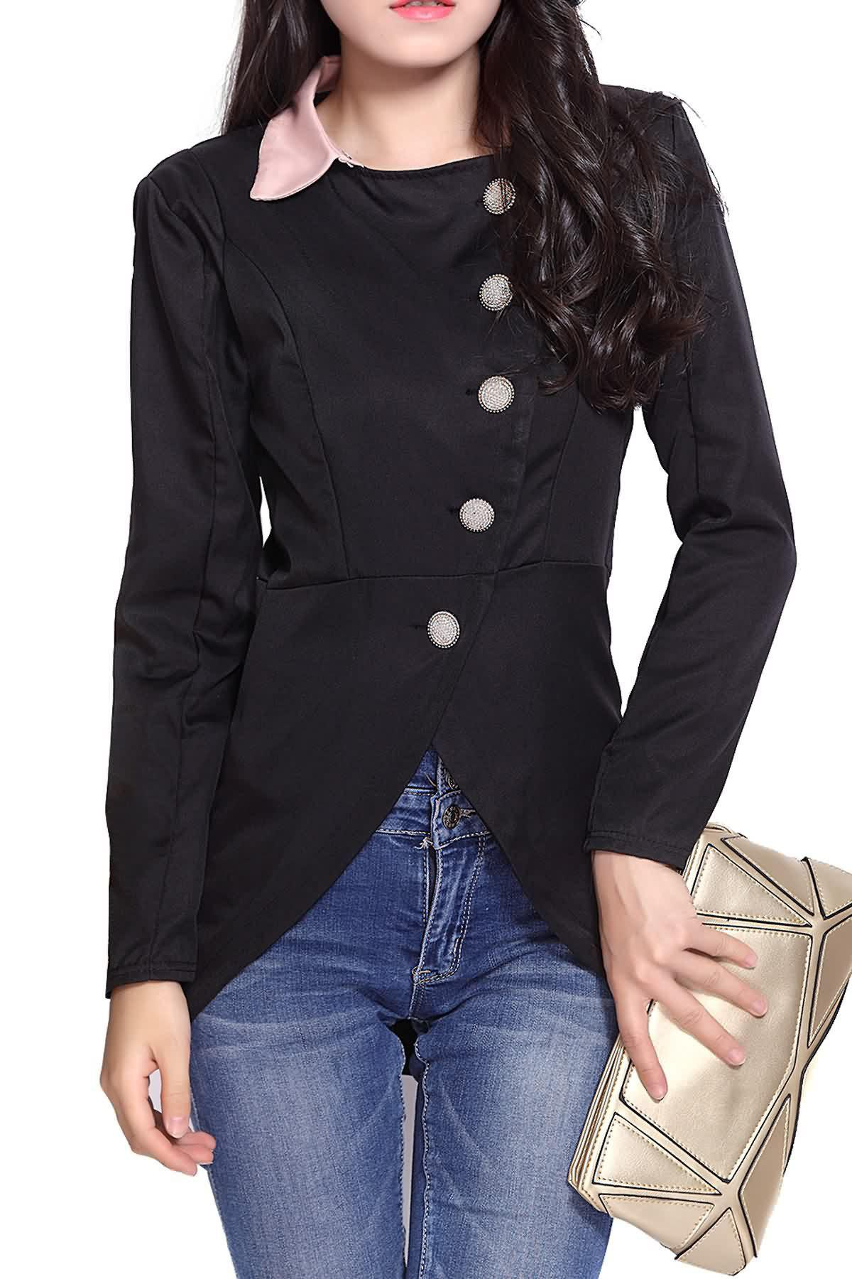 Solid Color Single-Breasted Ladylike Style Long Sleeves Irregular Women's Coat - BLACK ONE SIZE