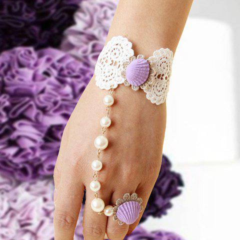 Chic Lace and Faux Pearl Embellished Bowknot Shape Women's Bracelet - WHITE/PURPLE