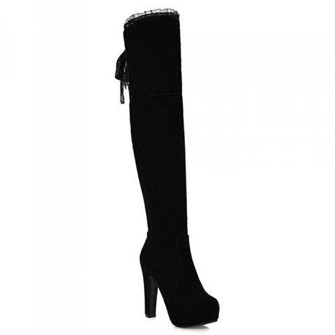 Stylish Chunky Heel and Lace Design Thigh Boots For Women - BLACK 37
