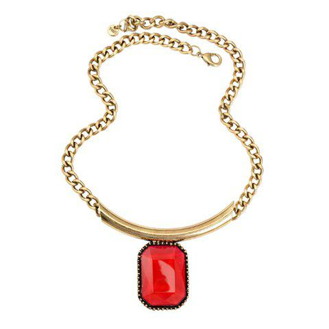 Faux Gem Embellished Pendant Necklace - AS THE PICTURE