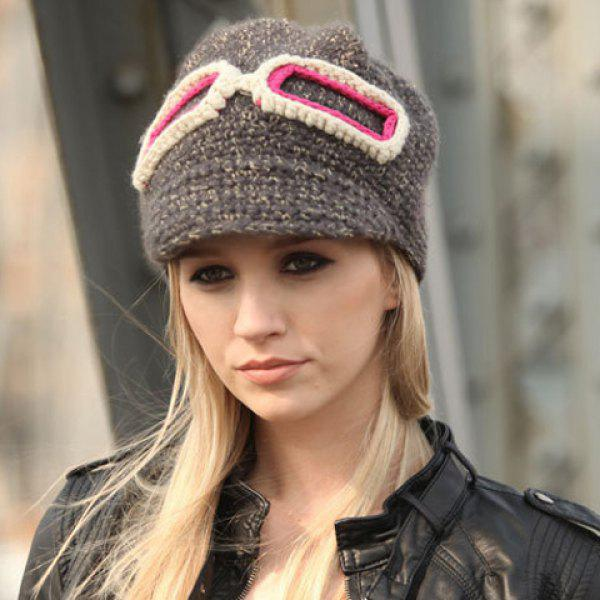 Chic Bicolor Glasses Frame Decorated Knitted Hat For Women