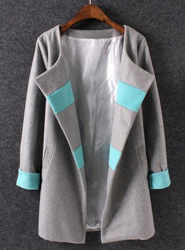 Graceful Color Block Turn-Down Collar Long Sleeve Worsted Coat For Women - GRAY L