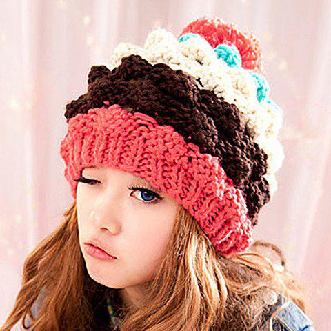 Cute Yarn Ball Decorated Pineapple Shape Knitted Hat For Women - COLOR ASSORTED