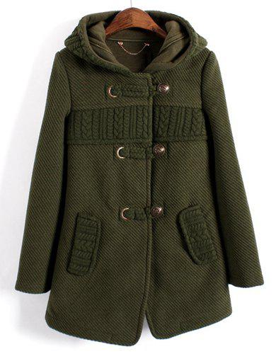 Ladylike Pure Color Hooded Knitted Splicing Long Sleeve Worsted Coat For Women - GREEN M