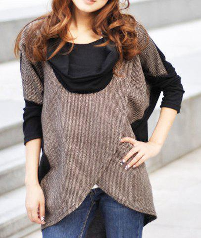 Elegant Draped Collar Color Block Long Sleeve T-Shirt For Women - BLACK L