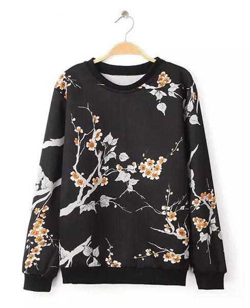 Floral Print Round Collar Long Sleeve Retro Fashionable Women's Sweatshirt - BLACK S