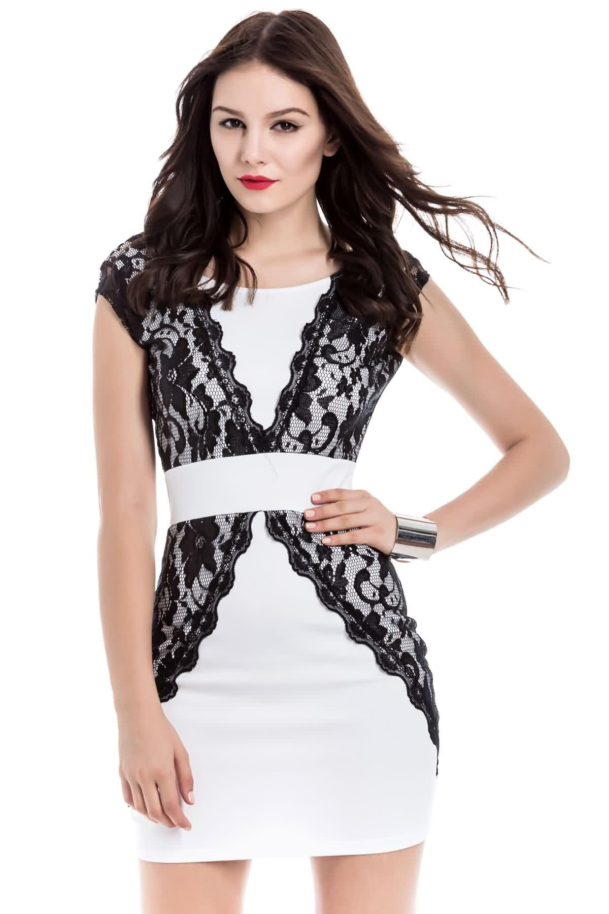 Charming Jewel Neck Lace Splicing Backless Short Sleeve Dress For Women - M WHITE