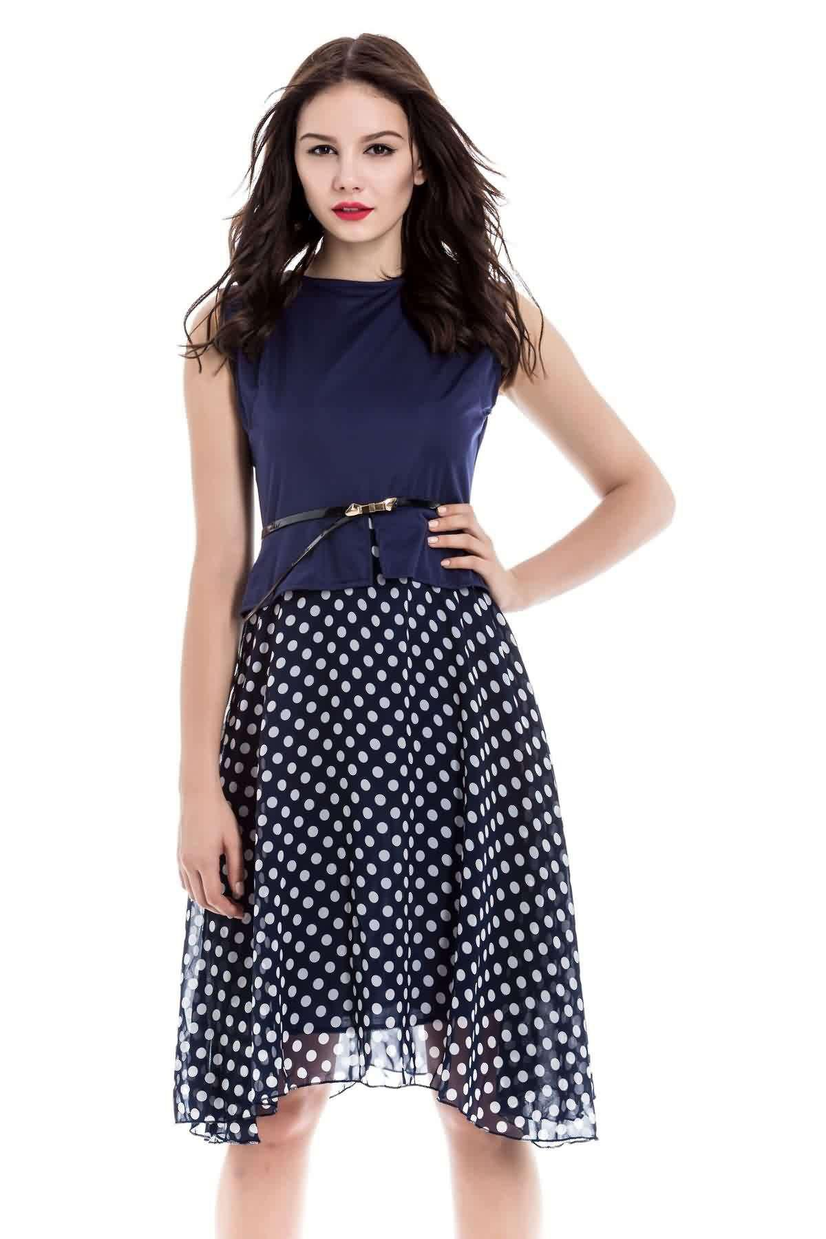 Trendy Sleeveless Round Collar Belt Design Polka Dot Print Knee-Length Dress - CADETBLUE S