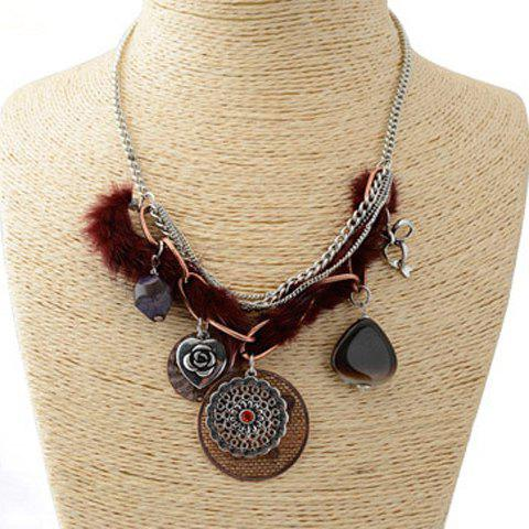 Attractive Round and Rose Pendant Embellished Women's Sweater Chain Necklace