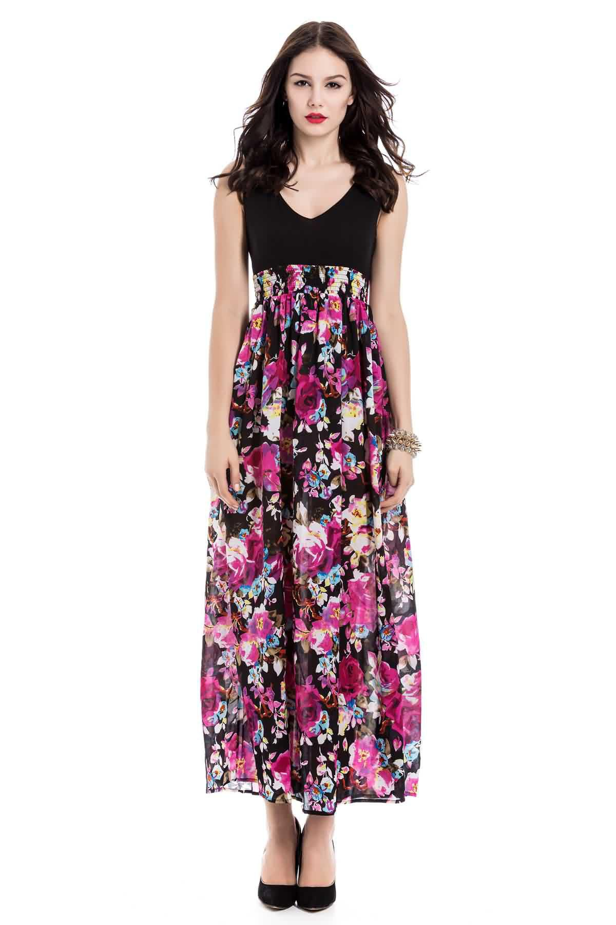 Bohemia Floral Printn Plunging Neckline Sleeveless Dress For Women - COLORMIX S