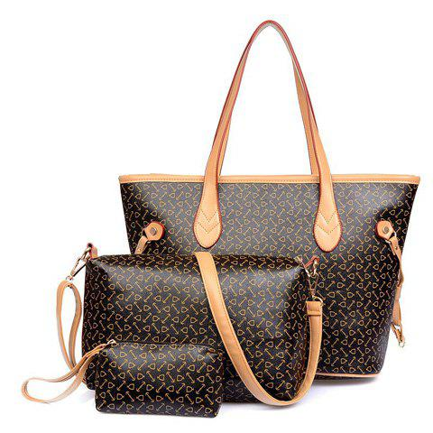 Fashion Print and PU Leather Design Women's Shoulder Bag - COFFEE