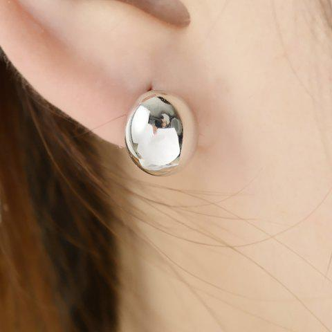 Pair of Chic Women's Solid Color Ellipse Earrings - WHITE