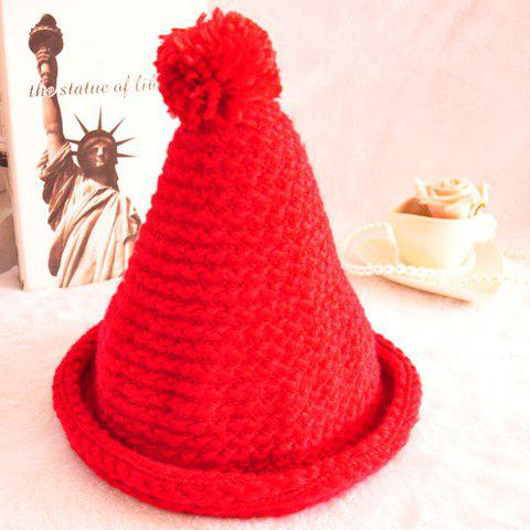 Chic Hemming and Pointed Design Solid Color Knitted Hat For Women - COLOR ASSORTED