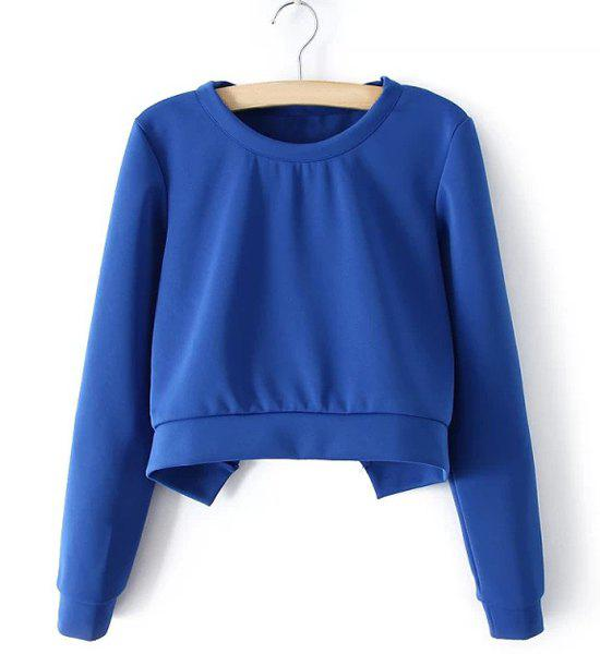 Stylish Blue Round Neck Backless Long Sleeve Short Sweatshirt For Women