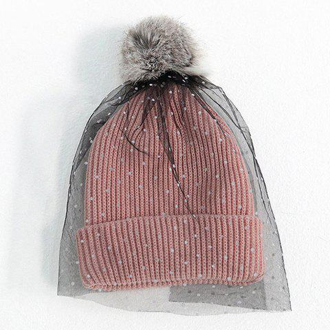 Chic Polka Dot Print Veil and Downy Ball Decorated Knitted Hat For Women - PINK