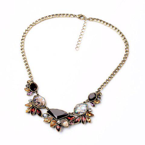 Chic Secondary Color Gemstone Embellished Women's Necklace