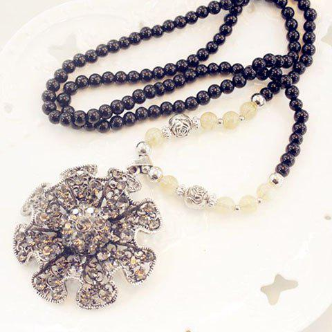 Chic Women's Rhinestone Inlaid Faux Pearl Link Sweater Chain Necklace - COLORMIX