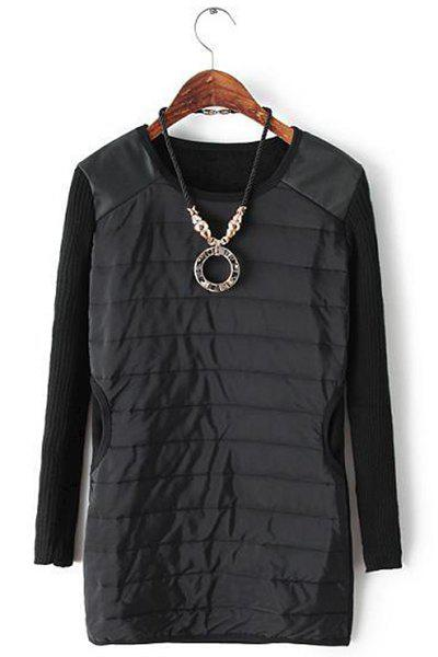 Brief PU Leather Splicing Knitted Scoop Neck Long Sleeve Sweatshirt with Pendant For Women
