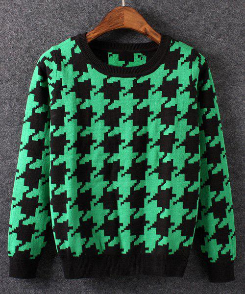 Preppy Style Round Collar Long Sleeve Houndstooth Pattern Women's Sweater - BLACK/GREEN S