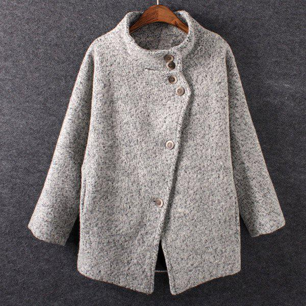 Worsted Stand Collar Long Sleeve Single-Breasted Fashionable Women's Coat - LIGHT GRAY M