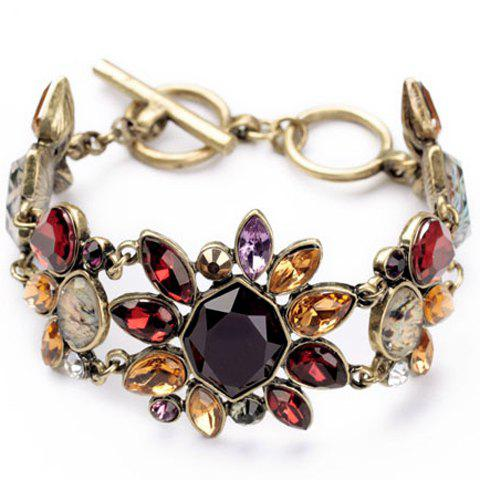 Noble Gemstone Embellished Flower Shape Women's Bracelet - COLORMIX