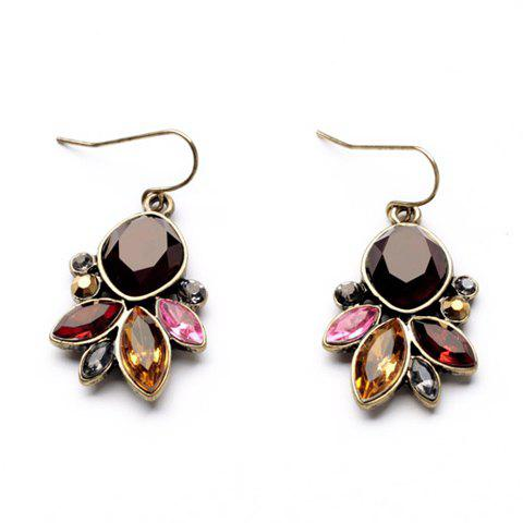 Fake Gemstone Embellished Drop Earrings - COLORMIX