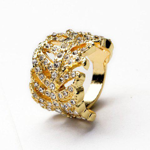 Graceful Solid Color Rhinestone Embellished Women's Ring - GOLDEN ONE-SIZE