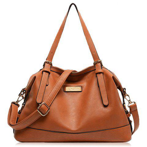 Stylish Buckle and Metallic Tag Design Shoulder Bag For Women - BROWN