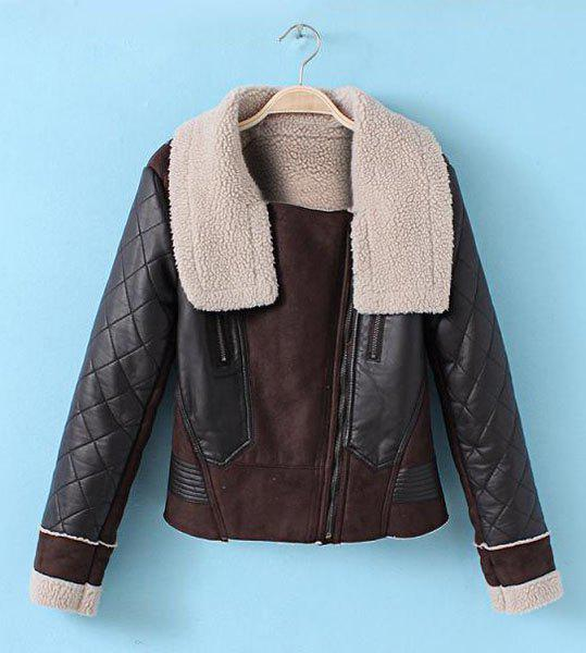 Stylish Turn-Down Collar PU Leather Splicing Long Sleeve Zippered Jacket For Women - COFFEE XL