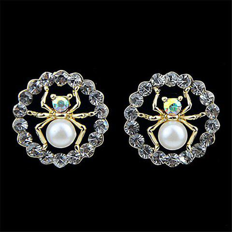 Pair of Elegant Rhinestone Embellished Spider Shape Women's Earrings - COLORMIX
