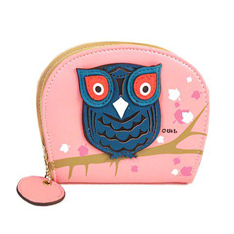 Cute Color Block and Owl Design Clutch Wallet For Women - LIGHT PINK