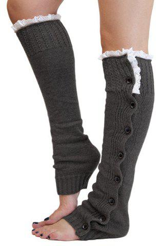 Pair of Chic Lace and Button Decorated Solid Color Women's Knitted Leg Warmers pair of stylish solid color breathable knitted leg warmers for women