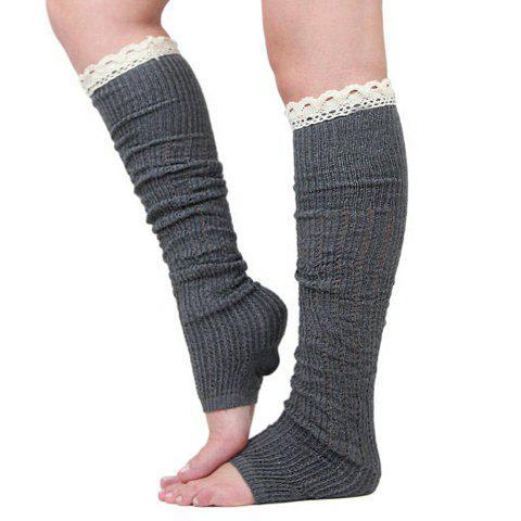 Pair of Chic Lace Decorated Solid Color Women's Knitted Leg Warmers - COLOR ASSORTED
