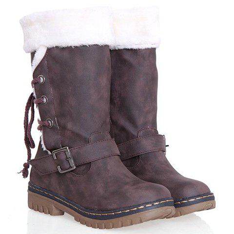 Vintage Suede and Buckle Design Snow Boots For Women - COFFEE 38