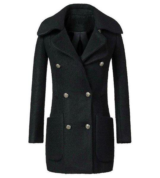 Solid Color Double Pockets Long Sleeve Lapel Neck Worsted Stylish Women's Coat - BLACK M