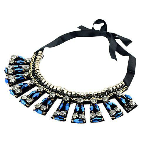 Ethnic Style Solid Color Faux Gem Embellished Women's Sweater Chain Necklace - BLUE