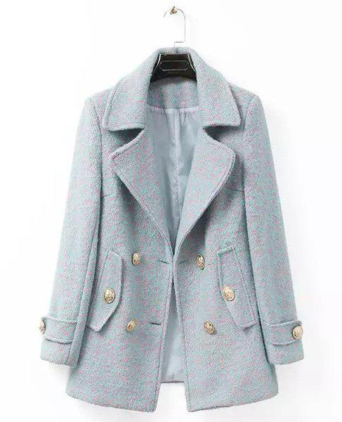 Color Mixed Worsted Long Sleeve Lapel Neck Double-Breasted Fashionable Women's Coat - LIGHT GRAY XL