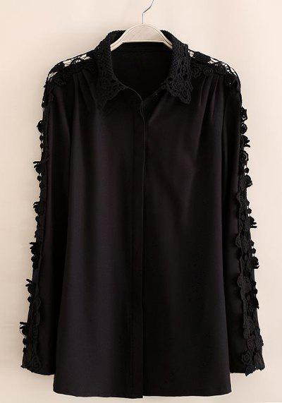 Crochet Flower Lace Splicing Turn-Down Collar Long Sleeve Stylish Women's Shirt - BLACK L