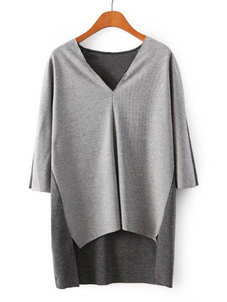 Simple Color Block V-Neck Irregular 3/4 Sleeve T-Shirt For Women - GRAY M